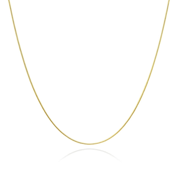Yellow Gold Flashed Sterling Silver Italian .75mm Snake Chain Necklace, 18 Inches
