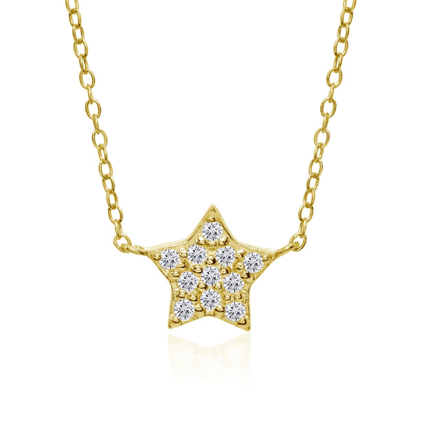 Yellow Gold Flashed Sterling Silver Cubic Zirconia Polished Star Dainty Minimalist Necklace