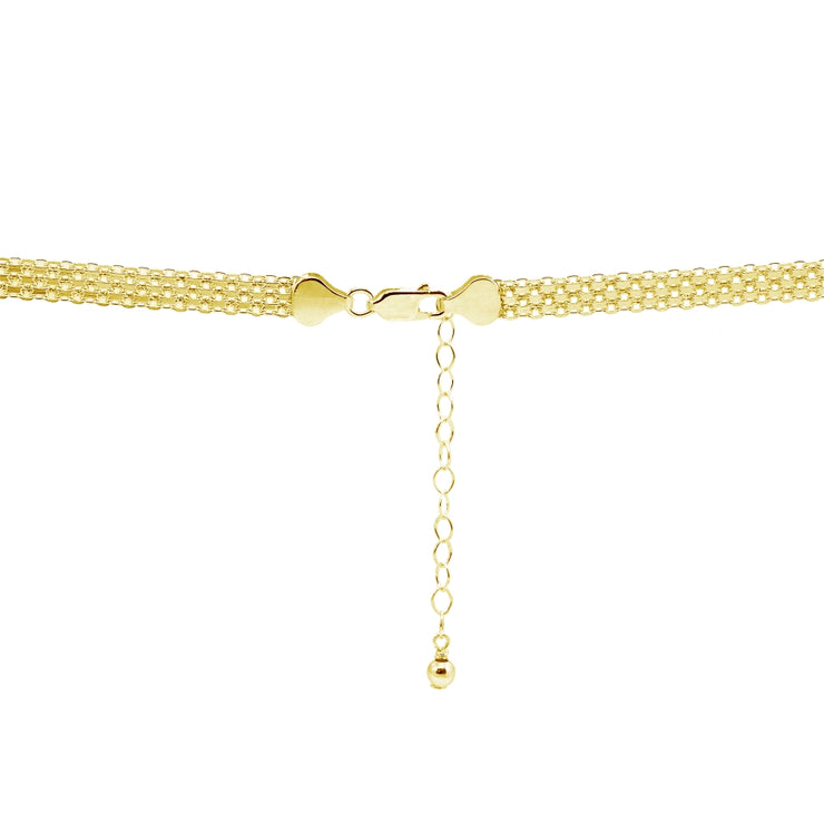 Yellow Gold Flashed Sterling Silver Polished Curved Bar Tube Clavicle Mesh Chain Necklace