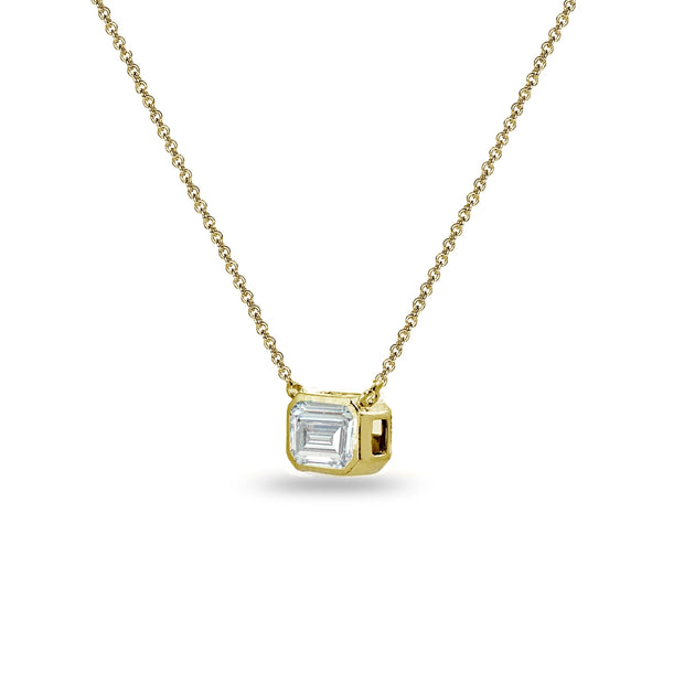 Yellow Gold Flashed Sterling Silver 8x6mm Octagon-Cut Bezel-Set Solitaire Choker Necklace Made with Swarovski Zirconia