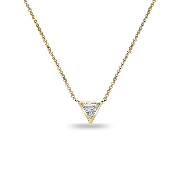 Yellow Gold Flashed Sterling Silver 6mm Triangle-Cut Bezel-Set Solitaire Choker Necklace Made with Swarovski Zirconia