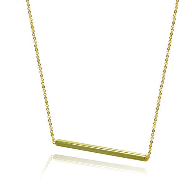 Yellow Gold Flashed Sterling Silver Polished Horizontal Bar Simple Minimalist Dainty Necklace