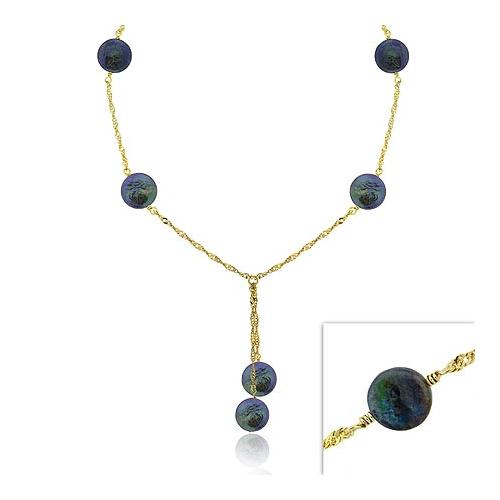 18K Gold Over Sterling Silver Iridescent Genuine Black Round Freshwater Cultured Coin Pearl Dangle Twist Necklace 16-19""