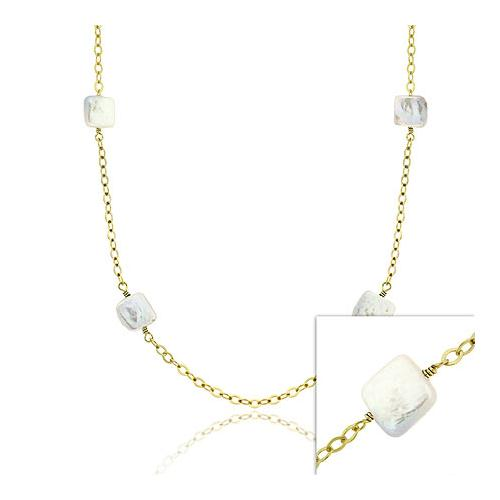 18K Gold over Sterling Silver Square Coin Freshwater Cultured Pearl Chain Necklace