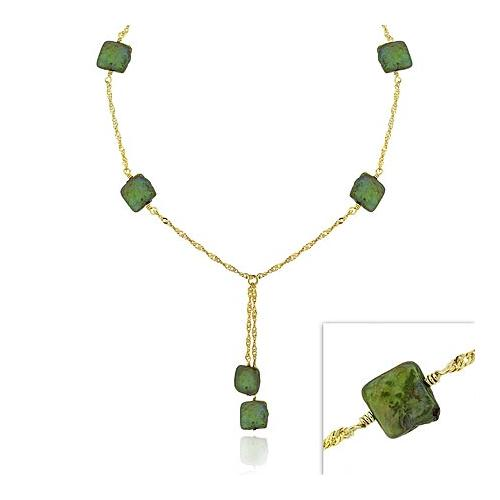 18K Gold over Sterling Silver Green Freshwater Cultured Square Coin Pearl Lariat Necklace