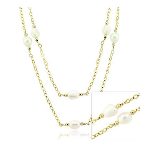18K Gold over Sterling Silver Freshwater Cultured Pearl Two Strand Necklace