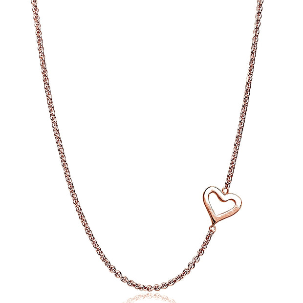 "Rose Gold Flashed Sterling Silver Polished Open Heart Sideways Chain Necklace, 16"" + Extender"