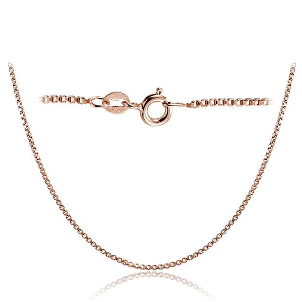 Rose Gold Tone over Sterling Silver Italian 1.45mm Box Chain Necklace 24 Inches