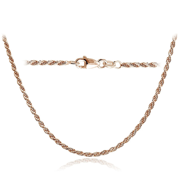 Rose Gold Tone over Sterling Silver Italian 2mm Rope Chain Necklace for Pendants 24 Inches