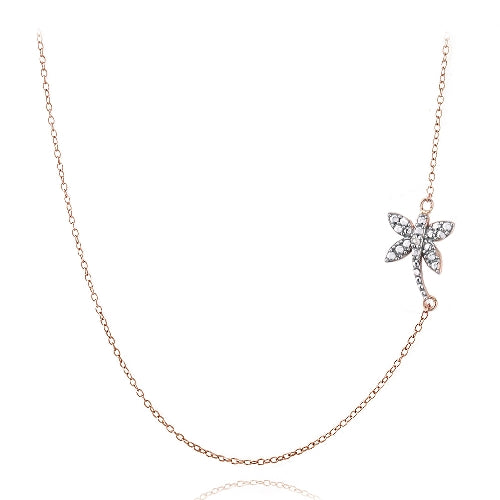 Rose Gold Tone over Sterling Silver Diamond Accent Dragonfly Necklace