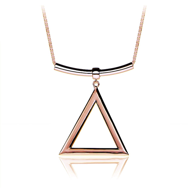 Rose Gold Tone over Sterling Silver Triangle and Bar Adjustable Necklace 24 Inches