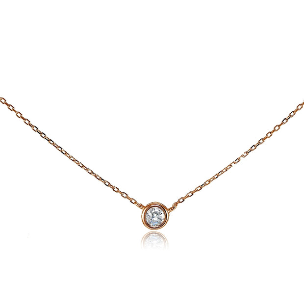 Rose Gold Flashed Sterling Silver Cubic Zirconia Bezel-Set Solitaire Choker Necklace