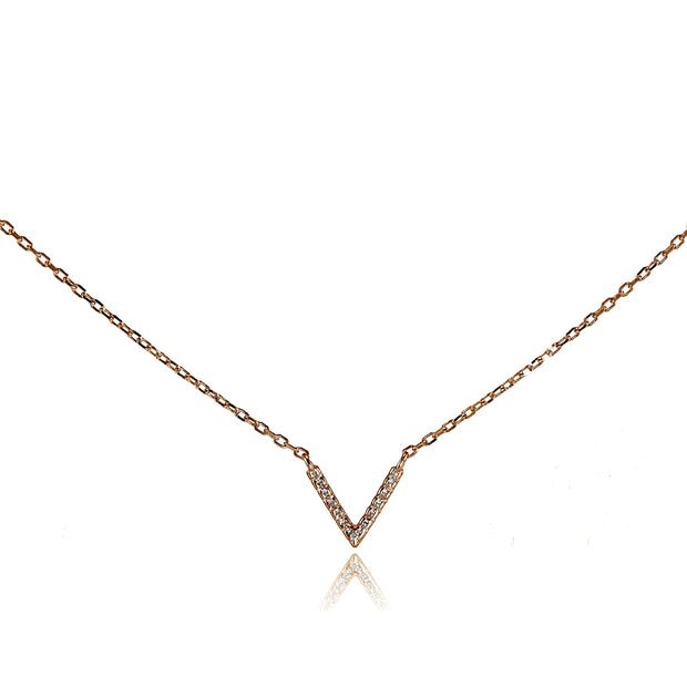 "Rose Gold Flashed Sterling Silver Cubic Zirconia ""V"" Choker Necklace"
