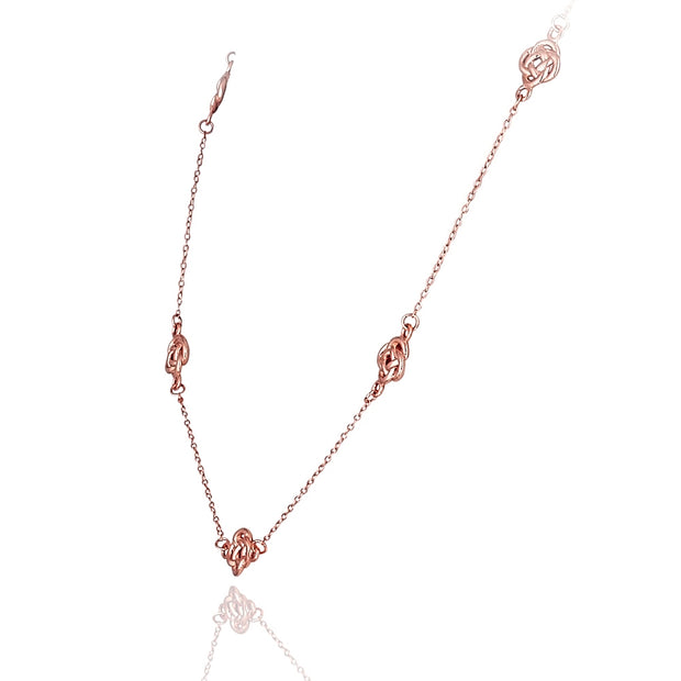 Rose Gold Flashed Sterling Silver Polished Love Knot Flower Station Chain Necklace