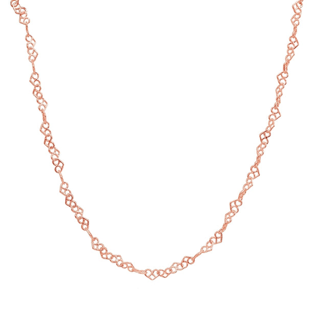 Rose Gold Flashed Sterling Silver 3.5mm Intertwining Hearts Link Chain Necklace, 30 Inches