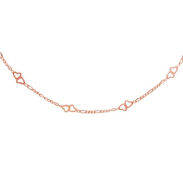 Rose Gold Flashed Sterling Silver Figaro Link Chain with Double Hearts Choker Necklace