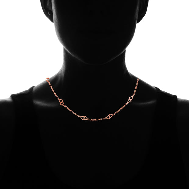 Rose Gold Flashed Sterling Silver Figaro Link Chain with Double Hearts Necklace, 16 Inches