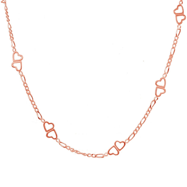 Rose Gold Flashed Sterling Silver Figaro Link Chain with Double Hearts Necklace, 30 Inches
