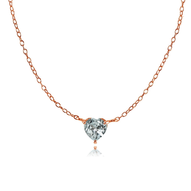 Rose Gold Flashed Sterling Silver Small Dainty Aquamarine Heart Choker Necklace