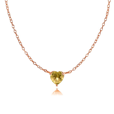 Rose Gold Flashed Sterling Silver Small Dainty Citrine Heart Choker Necklace