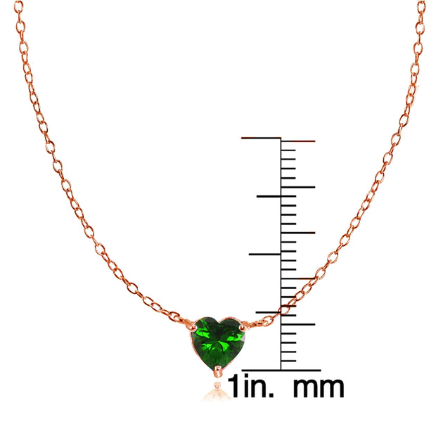 Rose Gold Flashed Sterling Silver Small Dainty Simulated Emerald Heart Choker Necklace