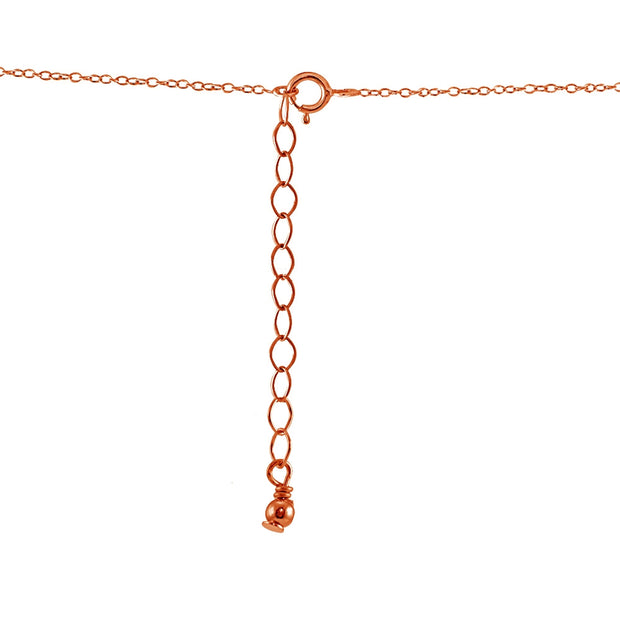 Rose Gold Flashed Sterling Silver Small Dainty Round Simulated Emerald Choker Necklace