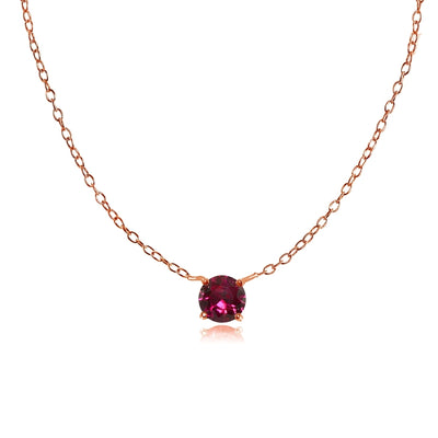 Rose Gold Plated Sterling Silver Small Dainty Round Created Ruby Choker Necklace