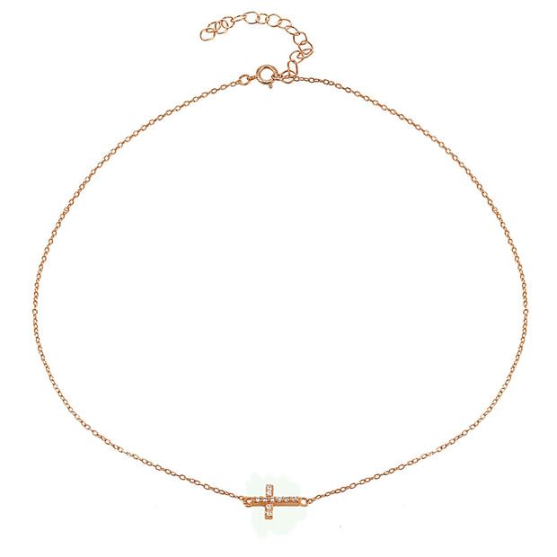 Rose Gold Flashed Sterling Silver Cubic Zirconia Sideways Cross Choker Necklace
