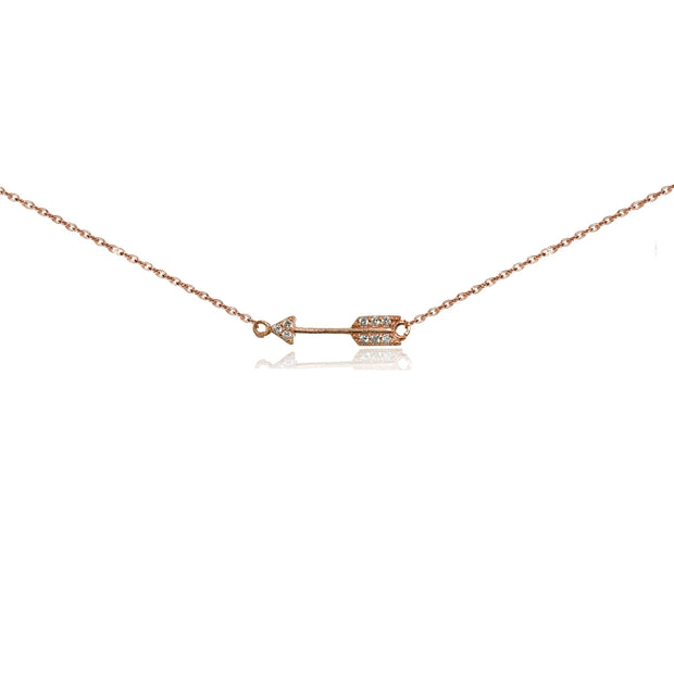 Rose Gold Flashed Sterling Silver Cubic Zirconia Sideways Arrow Choker Necklace