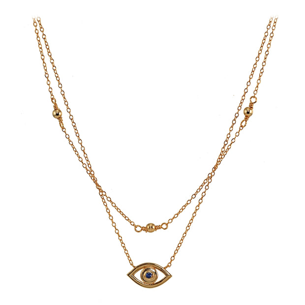 Rose Gold Flashed Sterling Silver Blue CZ Evil Eye Layered Choker Necklace