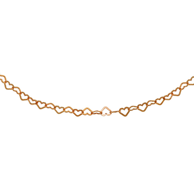 Rose Gold Flashed Sterling Silver Open Heart Italian Chain Choker Necklace