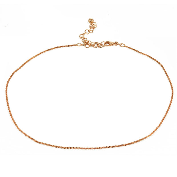 Rose Gold Flashed Sterling Silver Mirror Twist Rope Italian Chain Dainty Choker Necklace