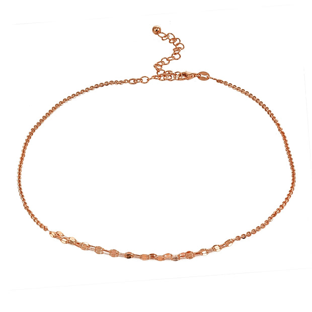 Rose Gold Flashed Sterling Silver Cable with Fashion Link Italian Chain Triple Layered Choker Necklace