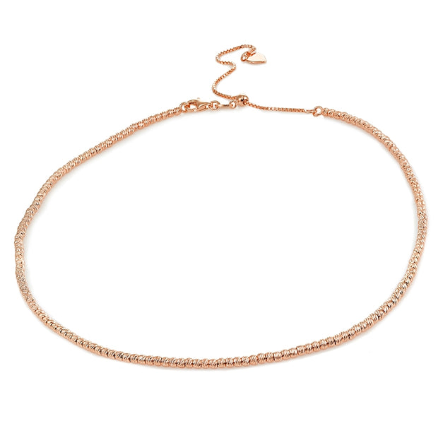 Rose Gold Flashed Sterling Silver Diamond-Cut Beads Adjustable Italian Chain Choker Necklace