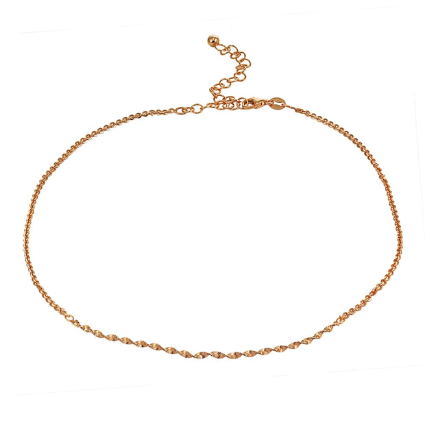 Rose Gold Flashed Sterling Silver Twist Herringbone Italian Chain Choker Necklace
