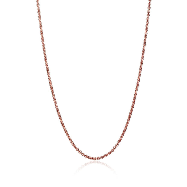 Rose Gold Flashed Sterling Silver 0.7mm Thin Cable Chain Necklace, 16 Inches
