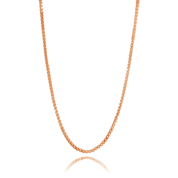 Rose Gold Flashed Sterling Silver 1mm Box Chain Dainty Necklace, 30 Inches