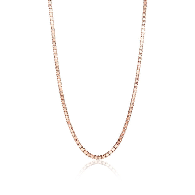 Rose Gold Flashed Sterling Silver 1.3mm Box Chain Dainty Necklace, 16 Inches