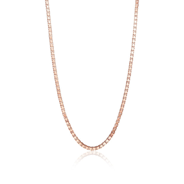 Rose Gold Flashed Sterling Silver 1.3mm Box Chain Dainty Necklace, 30 Inches