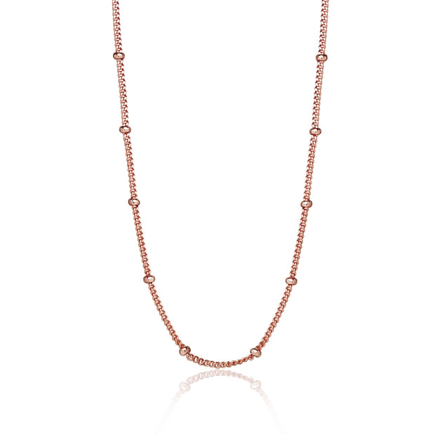 Rose Gold Flashed Sterling Silver 2mm Bead Station Cable Chain Necklace, 16 Inches