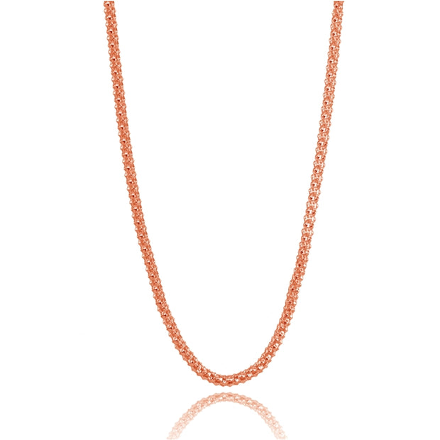 Rose Gold Flashed Sterling Silver 1.5mm Popcorn Chain Necklace, 30 Inches
