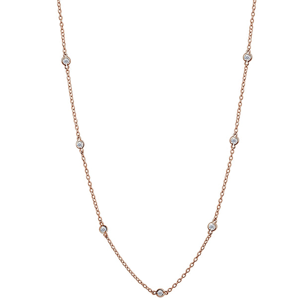Rose Gold Flashed Sterling Silver CZ Station Dainty Chain Necklace, 16 Inches