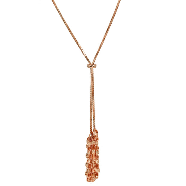 Rose Gold Flashed Sterling Silver Flat Fashion-Link Chain Tassels Drop Y-Necklace