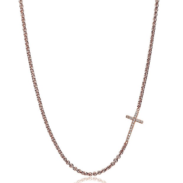"Rose Gold Flashed Sterling Silver Cubic Zirconia Cross Sideways Chain Necklace, 16"" + Extender"