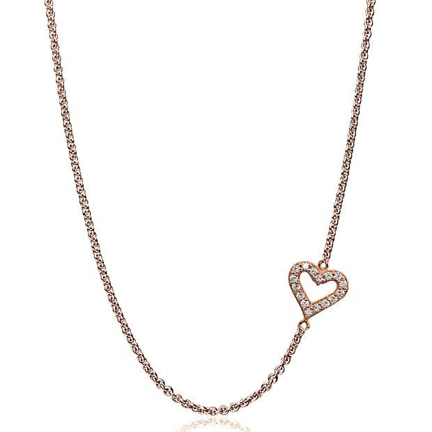 "Rose Gold Flashed Sterling Silver Cubic Zirconia Dainty Heart Sideways Chain Necklace, 16"" + Extender"