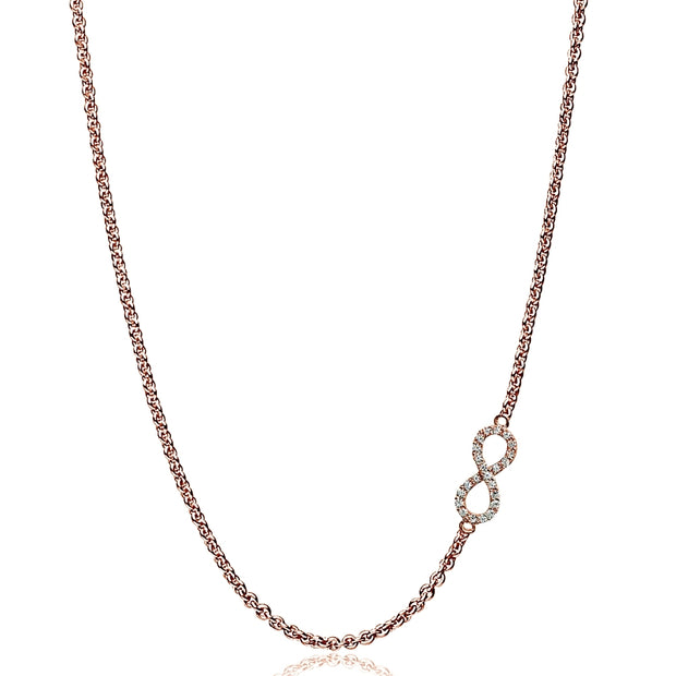 "Rose Gold Flashed Sterling Silver Cubic Zirconia Infinity Figure 8 Sideways Chain Necklace, 16"" + Extender"