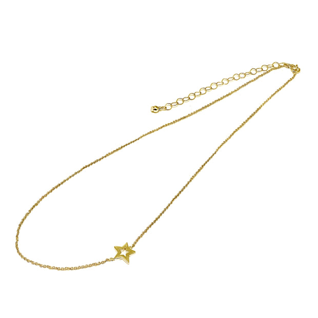 "Rose Gold Flashed Sterling Silver Polished Open Star Sideways Chain Necklace, 16"" + Extender"