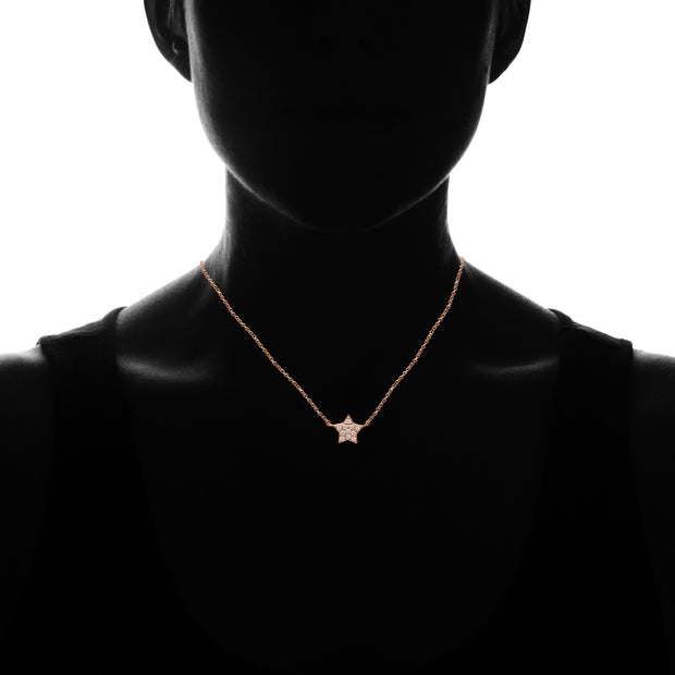 Rose Gold Flashed Sterling Silver Cubic Zirconia Polished Star Dainty Minimalist Necklace