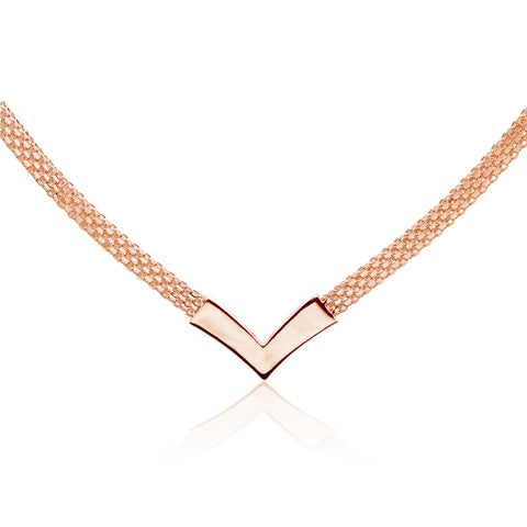Rose Gold Flashed Sterling Silver Polished Chevron V Clavicle Mesh Chain Necklace