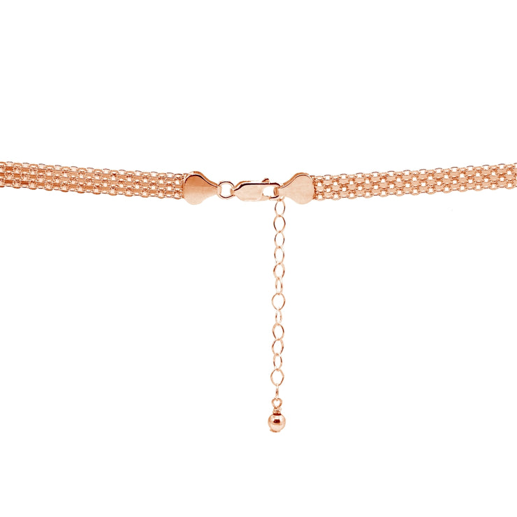 Rose Gold Flashed Sterling Silver Polished Curved Bar Tube Clavicle Mesh Chain Necklace